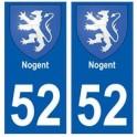 52 Nogent blason autocollant plaque stickers ville