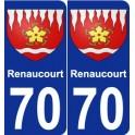 70 Renaucourt blason autocollant plaque stickers ville