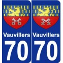 70 Vauvillers coat of arms sticker plate stickers city