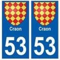 53 Craon blason autocollant plaque stickers ville