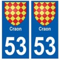 53 Craon blason autocollant plaque stickers ville