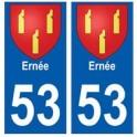 53 Ernée blason autocollant plaque stickers ville