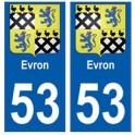 53 Evron blason autocollant plaque stickers ville