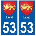 53 Laval blason autocollant plaque stickers ville