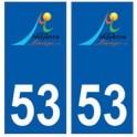 53 Mayenne logo autocollant plaque stickers ville
