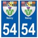 54 Nancy blason autocollant plaque stickers ville