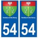 54 Vandœuvre-lès-Nancy blason autocollant plaque stickers ville