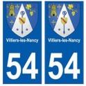54 Villiers-les-Nancy blason autocollant plaque stickers ville