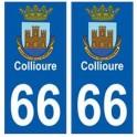 66 Collioure blason autocollant plaque ville