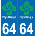 64 Pays Basque autocollant plaque immatriculation auto sticker