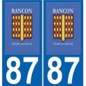 87 Rancon logo autocollant plaque immatriculation auto ville sticker