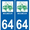 64 Moumour logo autocollant plaque immatriculation auto ville sticker