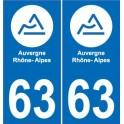 63 Puy-De-Dôme autocollant plaque immatriculation auto département sticker Auvergne-Rhône-Alpes logo 63