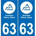 63 Puy-De-Dome sticker plaque immatriculation auto department sticker Auvergne-Rhône-Alps logo, 3