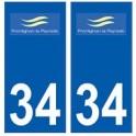 34 Frontignan logo autocollant plaque immatriculation ville