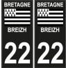22 Breizh Bretagne drapeau noir sticker autocollant plaque immatriculation auto