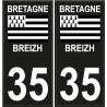 35 Breizh Bretagne noir drapeau sticker autocollant plaque immatriculation auto