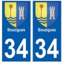 34 Bouzigues coat of arms sticker plate registration city