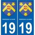 19 Perpezac-le-Noir logo autocollant plaque immatriculation auto ville sticker