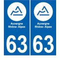 63 Auvergne ville sticker autocollant plaque immatriculation auto