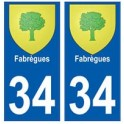 34 Fabrègues blason autocollant plaque immatriculation ville