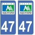 47 Lot et Garonne autocollant plaque