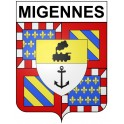 Stickers coat of arms Migennes adhesive sticker