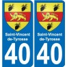 40 Saint-Vincent-de-Tyrosse coat of arms sticker plate stickers city