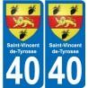 40 Saint-Vincent-de-Tyrosse escudo de armas de la etiqueta engomada de la placa de pegatinas de la ciudad