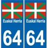 64 Euskal Herria sticker auto Pays Basque autocollant plaque immatriculation