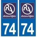 74 Haute Savoie autocollant plaque
