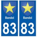 83 Bandol sticker plate registration city