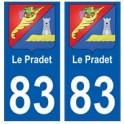 83 Le Pradet autocollant plaque immatriculation ville