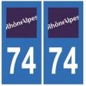 74 Haute Savoie Rhône Alpes autocollant plaque