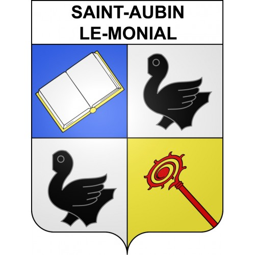 Stickers coat of arms Saint-Aubin-le-Monial adhesive sticker