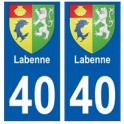 40 Labenne autocollant plaque blason armoiries stickers département ville