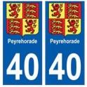 40 Peyrehorade autocollant plaque blason armoiries stickers département ville