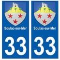33 Soulac-sur-Mer blason ville sticker autocollant plaque