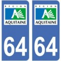 64 Pyrenees Atlantiques sticker plate