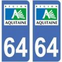64 Pyrénées Atlantiques autocollant plaque