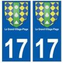 17 Le Grand-Village-Plage blason ville autocollant plaque