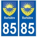 85 Barbâtre city sticker plate coat of arms