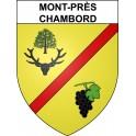Pegatinas escudo de armas de Mont-près-Chambord adhesivo de la etiqueta engomada