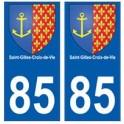 85 Saint-Gilles-Croix-de-Vie city sticker plate coat of arms