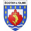 Pegatinas escudo de armas de Écotay-l'Olme adhesivo de la etiqueta engomada