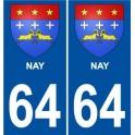 Nay 64 ville sticker autocollant plaque auto