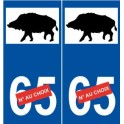 Wild boar sticker number decal plate