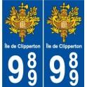 989 Clipperton island sticker sticker plate