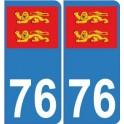 76 normandie autocollant plaque