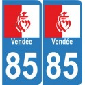 85 heart Vendée sticker plate, rounded corners